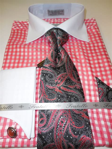 pattern shirt with tie mens white bright salmon micro check pattern dress shirt