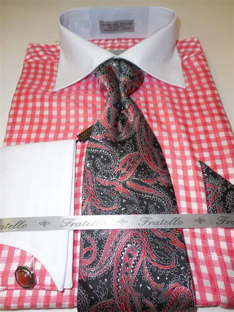 patterned dinner shirt mens white bright salmon micro check pattern dress shirt