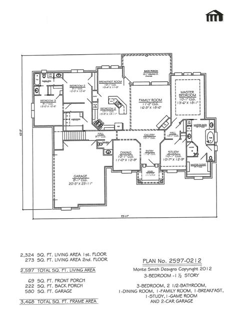 1 and 1 2 story floor plans plan no 2597 0212