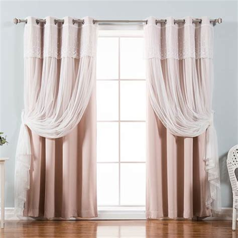 Dusty Pink Curtains Dusty Pink 96 X 52 In Sheer And Solid Blackout Window Treatments Set Of Four