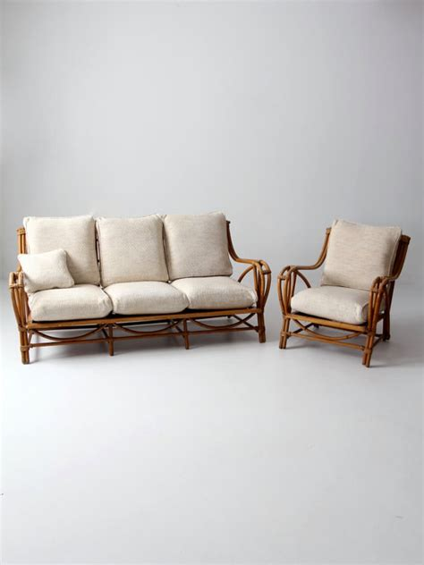 cane sofa covers vintage rattan furniture set couch and chair bamboo with