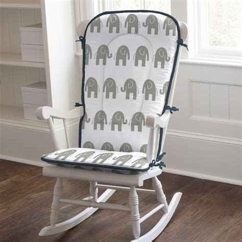 Navy And Gray Elephants Rocking Chair Pad Carousel Designs Rocking Chair Pads Nursery