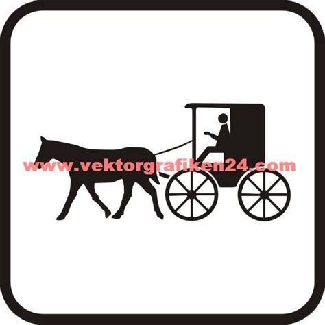 piktogramm kutsche mit pferd pferdekutsche