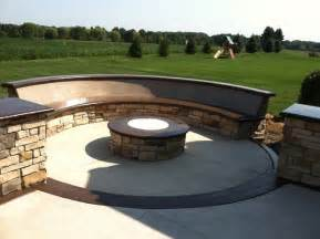 patio seating custom concrete seating bench around gas firepit
