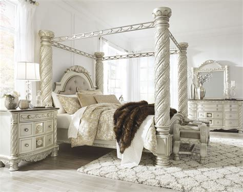 north shore king canopy bed cassimore north shore pearl silver king upholstered poster