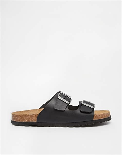 sandals with buckles asos sandals with buckle in black for lyst