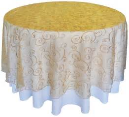 gold embroidered swirl organza table overlays 108 quot