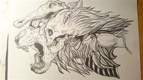 lion crocodile skull drawing by liutauraas on deviantart