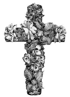 Tattoo Drawing Art And Beautiful Cross With Rosary Red