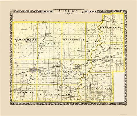 Coles County Search County Maps Coles County Illinois Il By Warner And Beers 1876