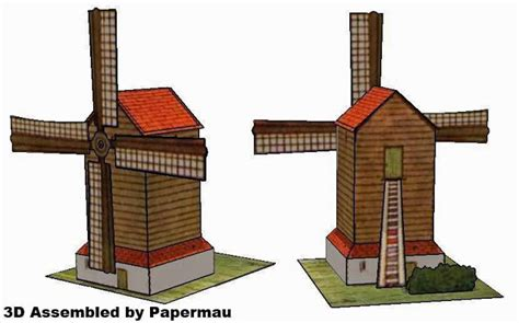 Windmill Papercraft - papermau the windmill vintage paper model by unknown