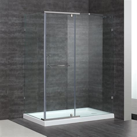 38 Shower Door Shop Aston 38 37 In To 60 In Semi Frameless Chrome Pivot Shower Door At Lowes
