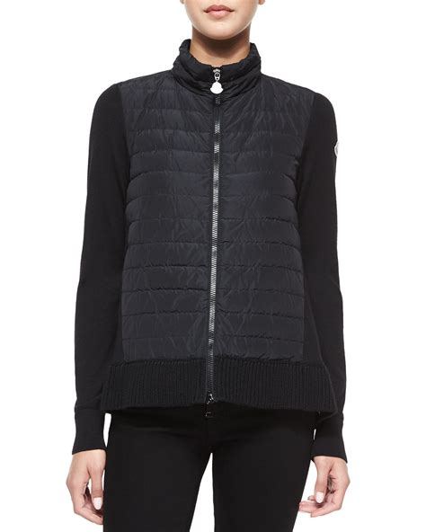 Quilted Sweater Jacket by Moncler Quilted Front Sweater Jacket In Black Lyst