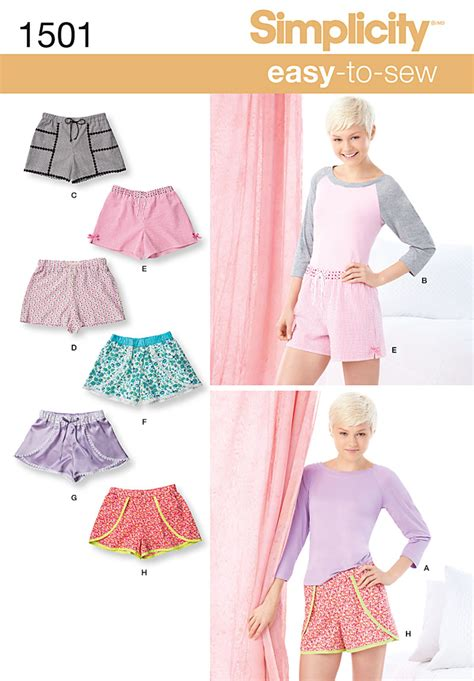 pattern sewing simplicity simplicity 1501 misses lounge shorts and raglan knit top