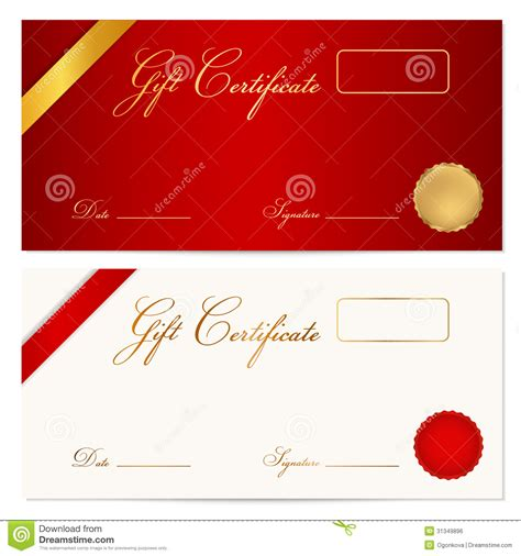 free money gift card template gift certificate voucher template wax seal stock vector