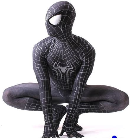 spider suit spandex clothing onesie lycra civil war ultimate amazing black