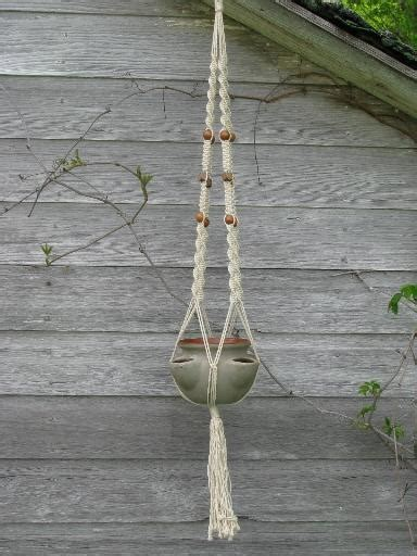 Macrame Pot Hangers For Sale - retro macrame plant hanger and pottery strawberry pot for