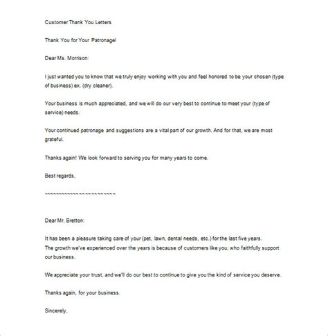 Business Support Letter Thank You Sle Business Thank You Letter 10 Free Sle Exle Format Free Premium