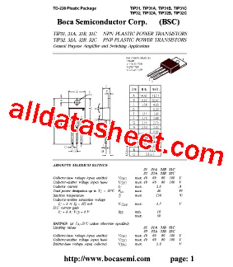 transistor tip31c datasheet tip31c datasheet pdf boca semiconductor corporation