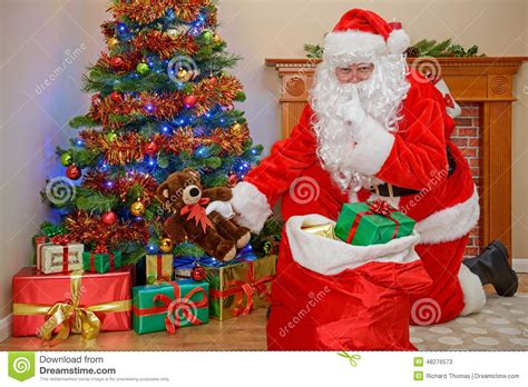 santa delivering christmas presents stock image image