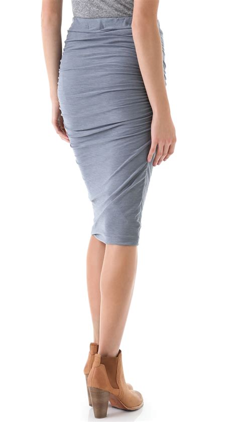 Biru Wash Pensil Nj lyst ruched pencil skirt in gray