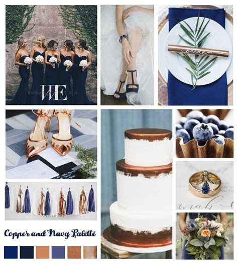 Wedding color theme navy and bronze   Wedding Mood Boards