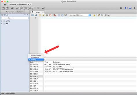 mysql create table syntax mysql workbench query history last executed query