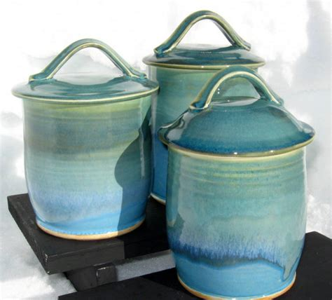 turquoise kitchen canisters three canister set in shades of turquoise
