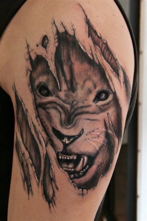3d lion tattoo powerful design 3d design