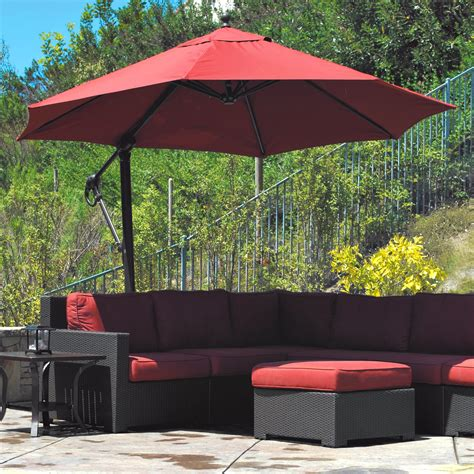 Attractive Offset Patio Umbrella #5: Splendid-outdoor-patio-design-featuring-l-shaped-sofa-and-freestanding-red-canopy-cantilever-umbrella-design-using-black-pole-support-ideas-outside-flooring-ideas-exteriors-innovative-cantilever-umbre.jpg