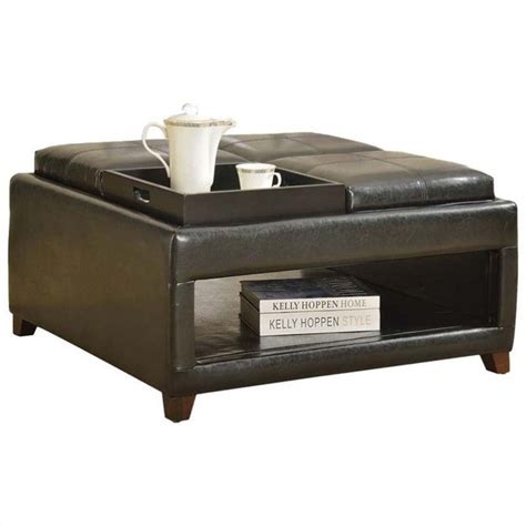 oversized ottoman acme furniture gosse faux leather oversized ottoman in