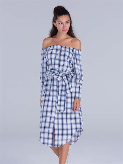 Tie Shoulder Plaid Dress blue plaid shoulder tie waist midi dress choies