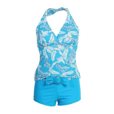 leaf pattern swimsuit swimsuit halter tankini short leaf pattern blue swimdy