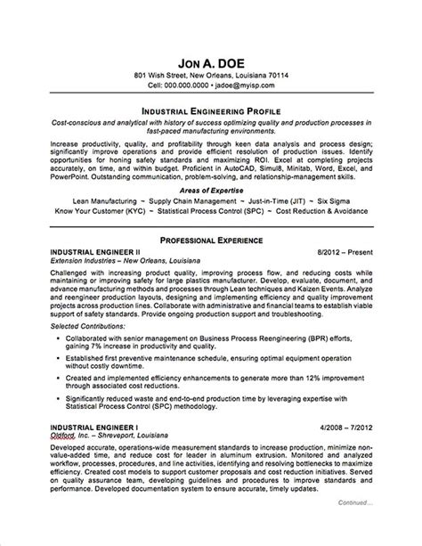 standard resume format for engineers industrial engineering resume sle professional resume exles topresume