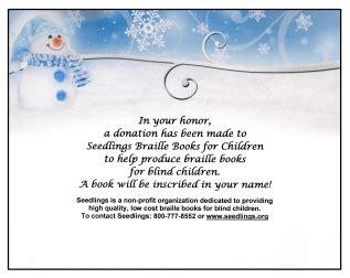 Seedlings Braille Books For Children A Donation Has Been Made In Your Honor Template