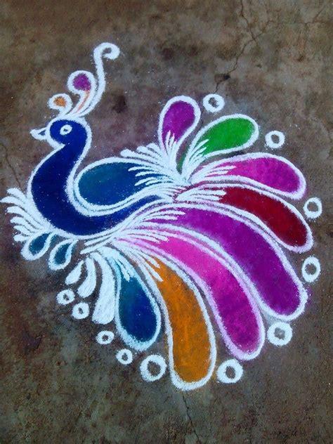 1 peacock rangoli design by mburadkar image