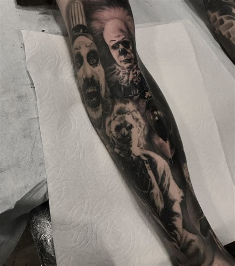 lighttouch tattoo finished up lower leg horror sleeve with pennywise artist