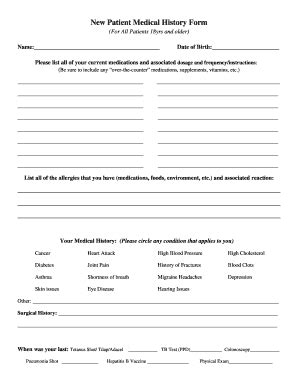 Medical History Form Templates Fillable Printable Sles For Pdf Word Pdffiller New Patient Health History Form Template