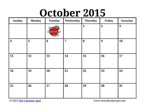 printable free october 2015 calendar printable october 2015 calendar image king