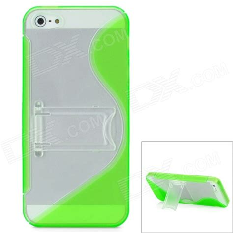 Plastic S Shaped Mobile Phone Stand Holder Green 2010 s line shaped protective plastic back w holder stand
