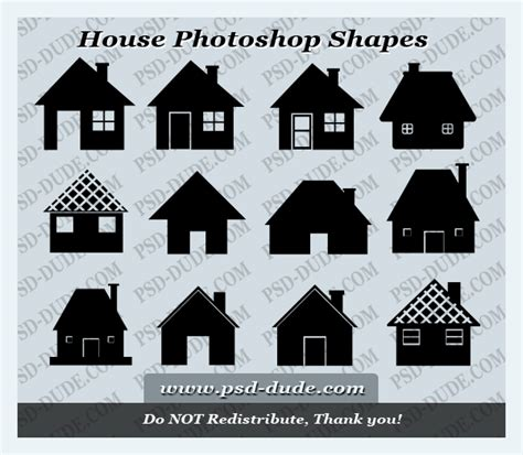 house photoshop shapes psddude