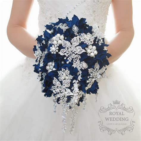 Wedding Bouquet Navy Blue by Wedding Bouquet Cascading Brooch Bouquet Bridal Bouquet
