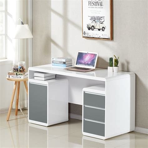 white gloss computer desk florentine computer desk in white and grey high gloss 31789