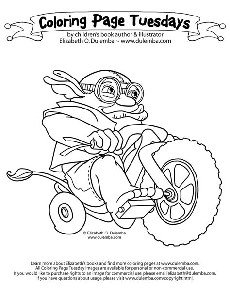dulemba coloring page tuesday ugg on a bigwheel
