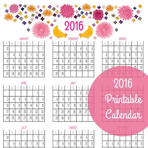 printable calendar 2016 year at a glance 7 best images of 2016 calendar printable at a glance