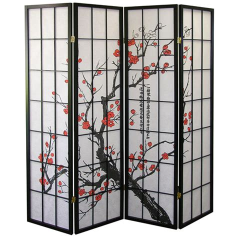 Japanese Room Divider Ore International 4 Panel Room Divider Plum Blossom Walmart