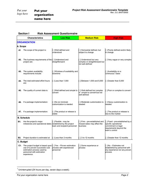 risk assessment questionnaire template in word and pdf