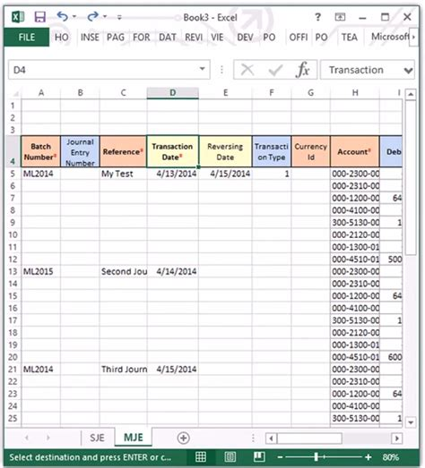 create the journal and journal entry with excel part 2