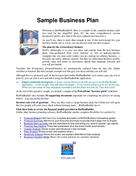 printable business plan exles sle business plan free printable documents