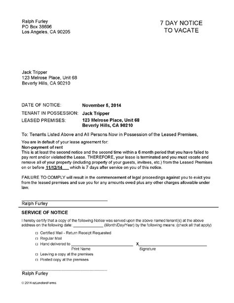 printable tennessee eviction notice tennessee 7 day notice to vacate ez landlord forms